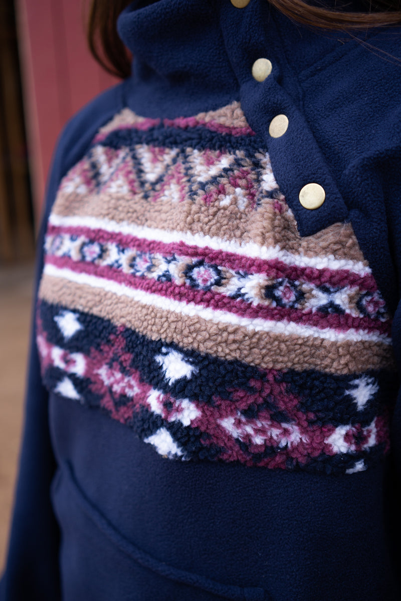 Navy Baby Aztec Fleece Pullover