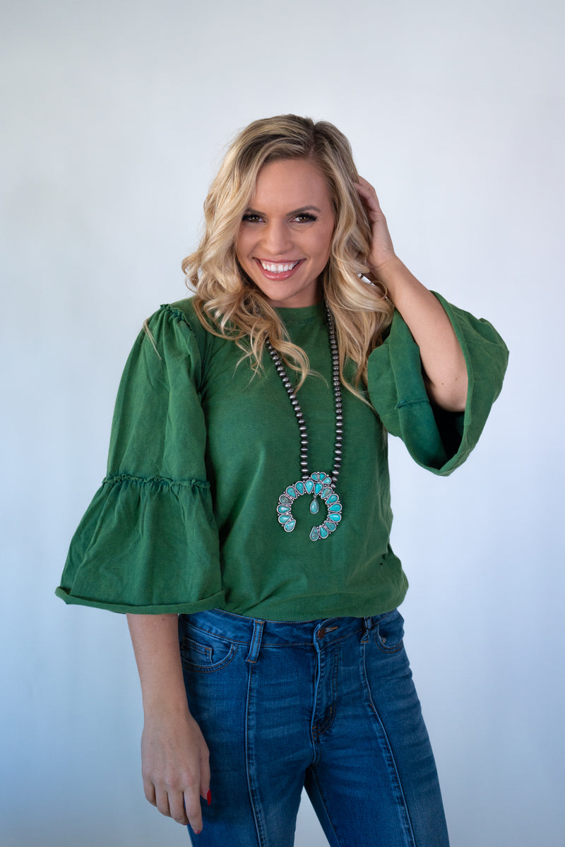 Pine Top Ruffle Sleeve Top