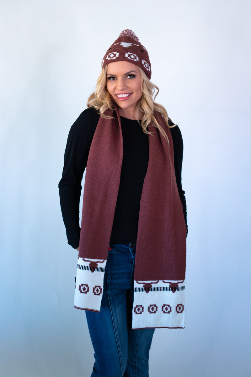 Rust Longhorn Beanie and Scarf Set