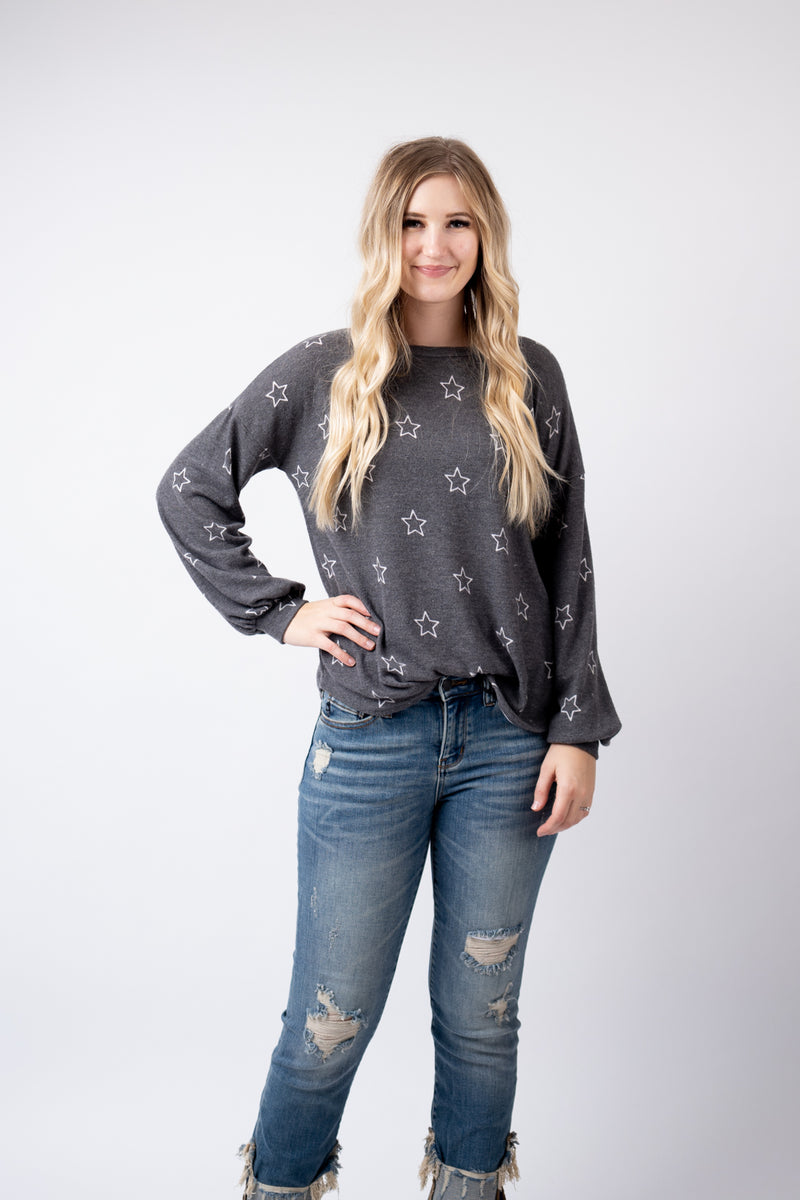 Stars in the Charcoal Sky Sweater Top