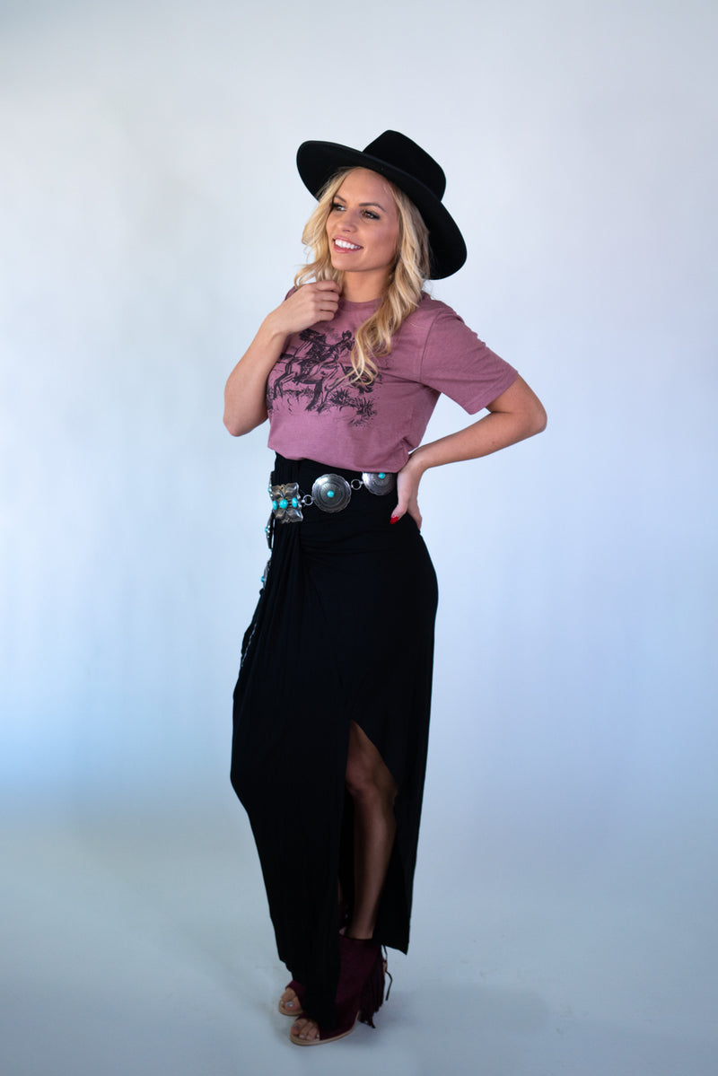 Single Slit Black Maxi SKirt
