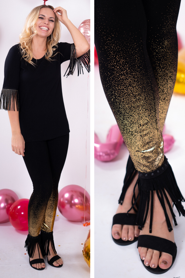 Gold Foil Glitter Leggings
