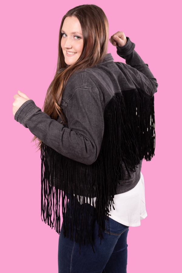 Back In Black Judy Blue Denim Fringe Jacket