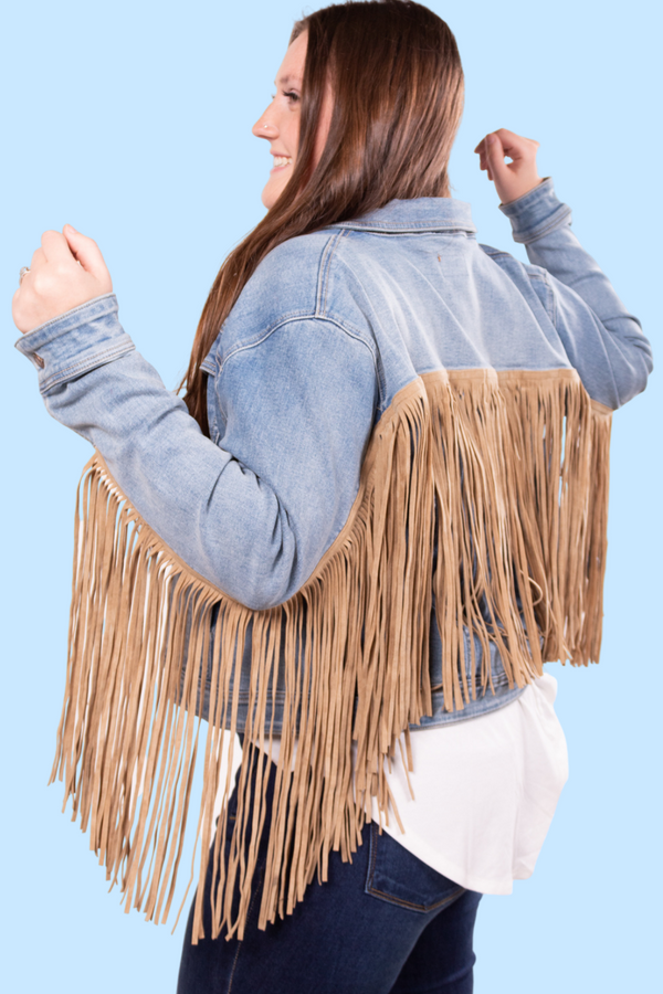 Betty Davis Judy Blue Denim Fringe Jacket