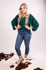 Hunter Green Bubble Sleeve Long Sleeve Top