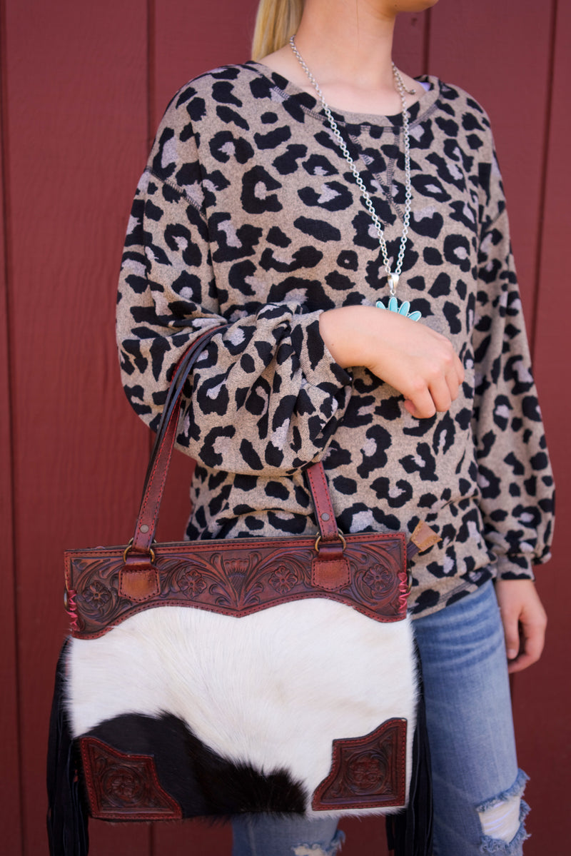 Sand Leopard Long Sleeve Top