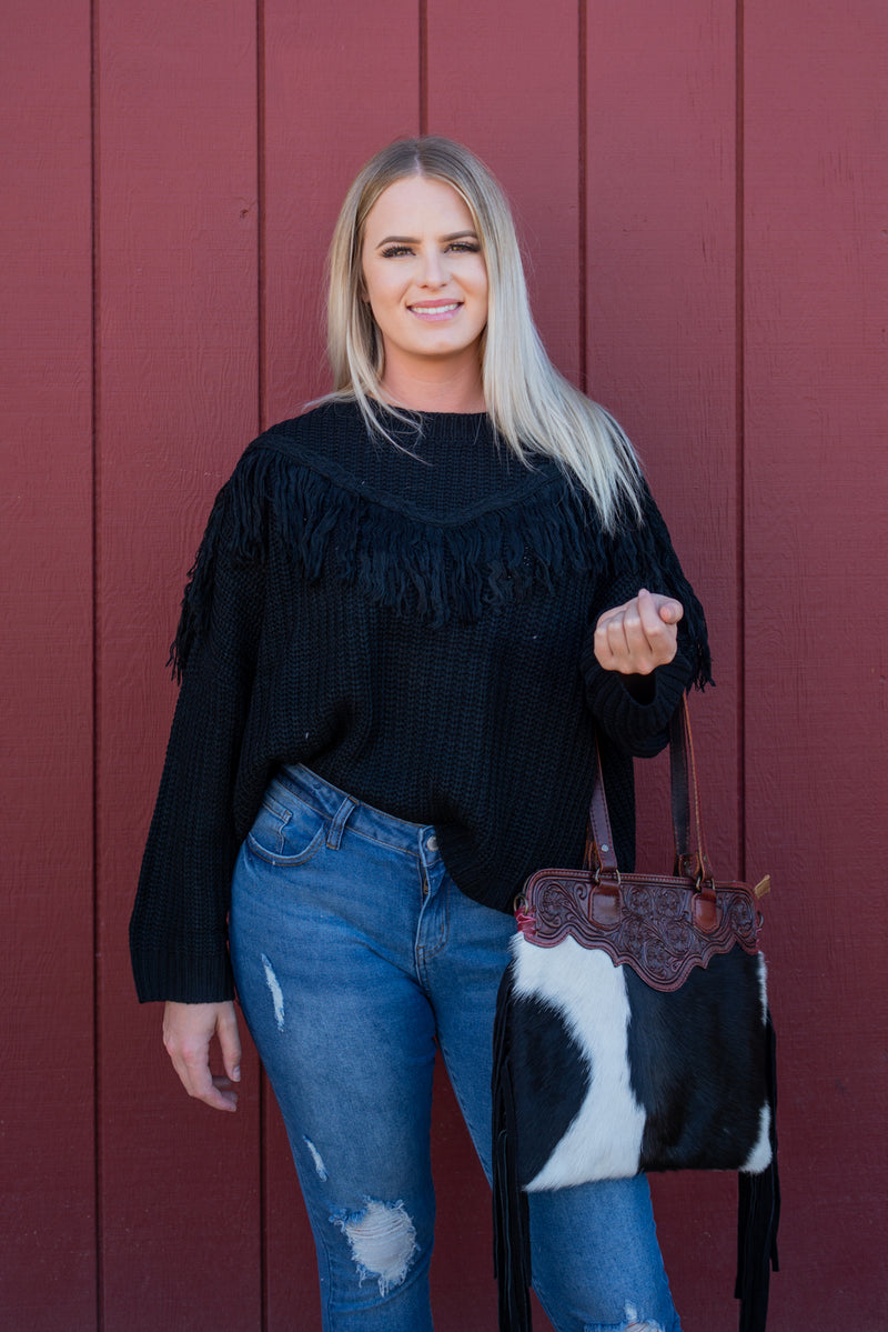 Grunge Fringe Sweater Top