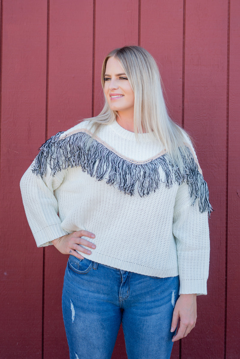 Snow White In Fringe Sweater Top