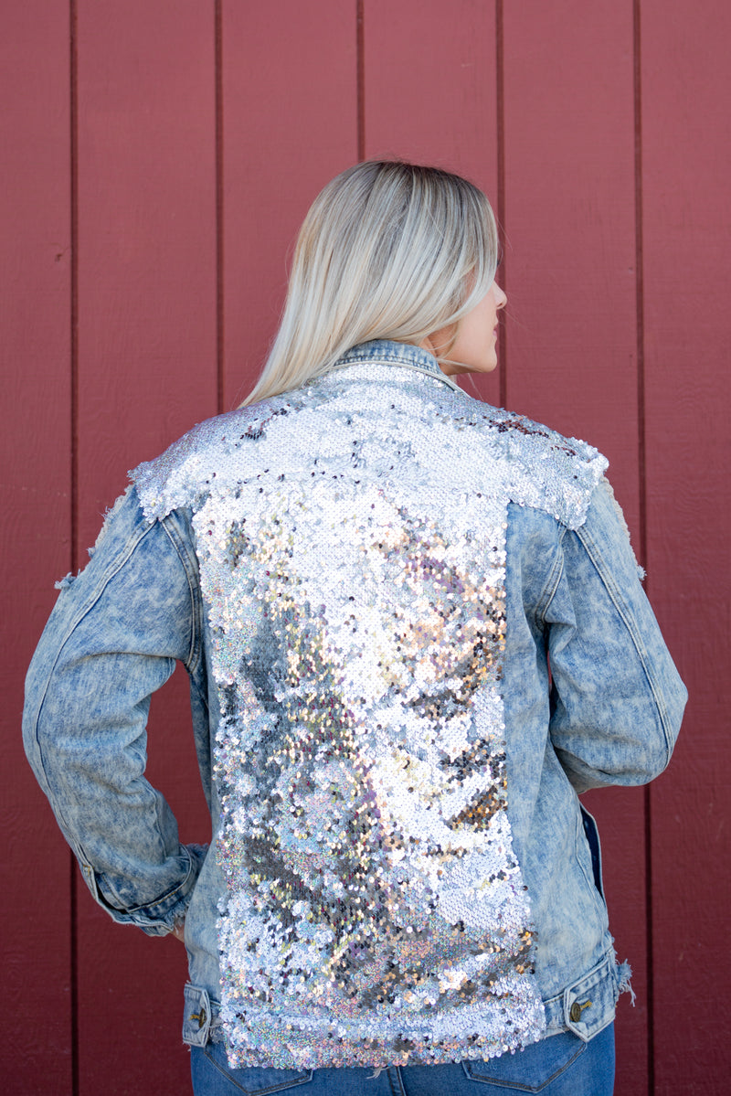 VSCO Girl Denim Jacket In Silver