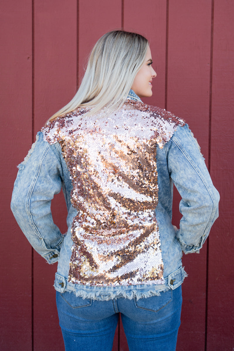VSCO Girl Denim Jacket In Rosegold