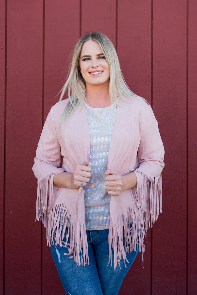 Fringe Forever Jacket In Strawberry Milkshake