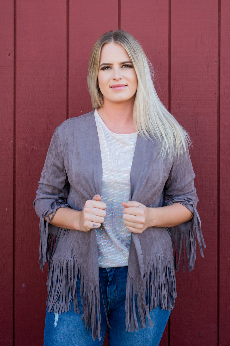 Fringe Forever Jacket In Plum