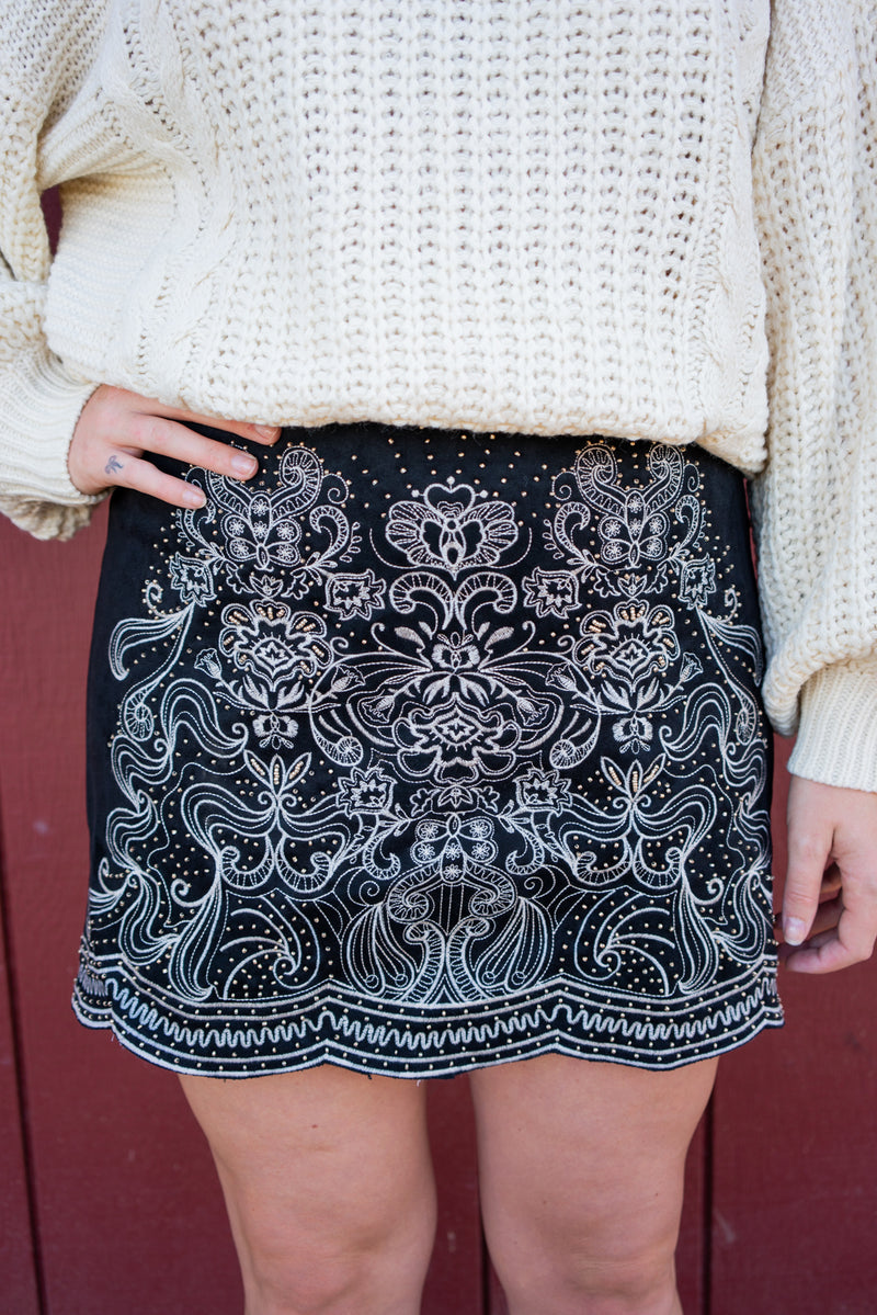 Santa Fe Embroidered Mini Skirt