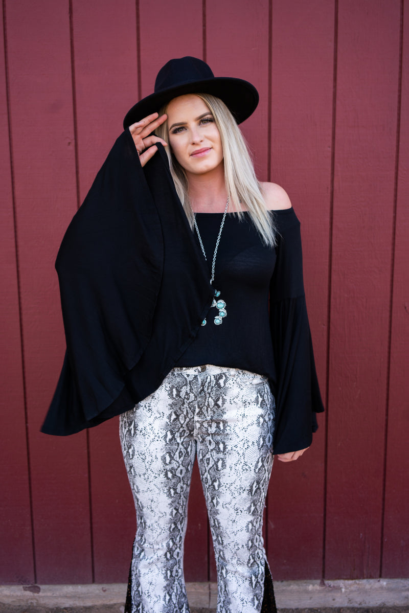 Midnight In Memphis Bell Sleeve Top