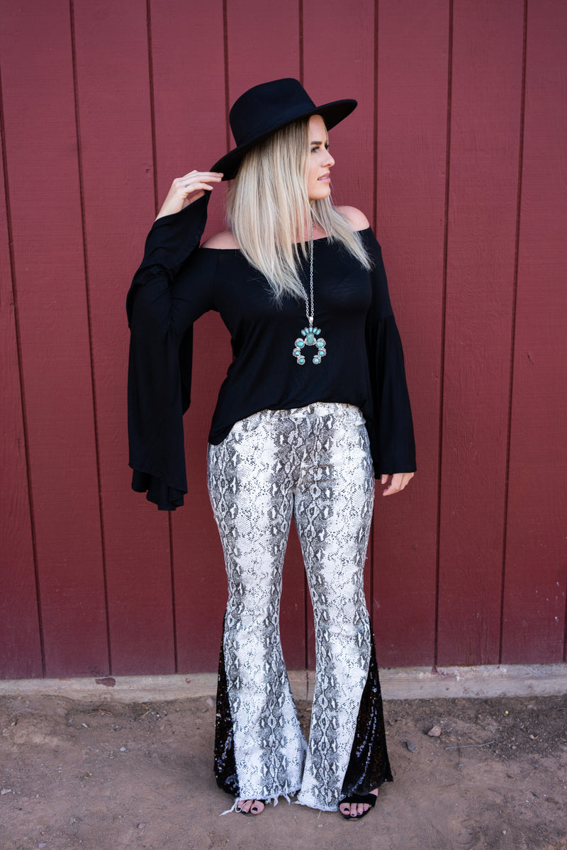 Holiday Favorite Snakeskin Denim & Sequin Bell Bottoms