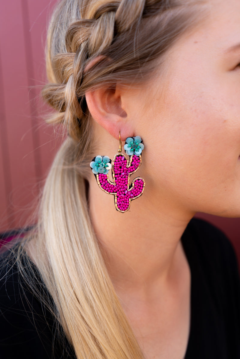 Hot Pink Saguaro Earrings
