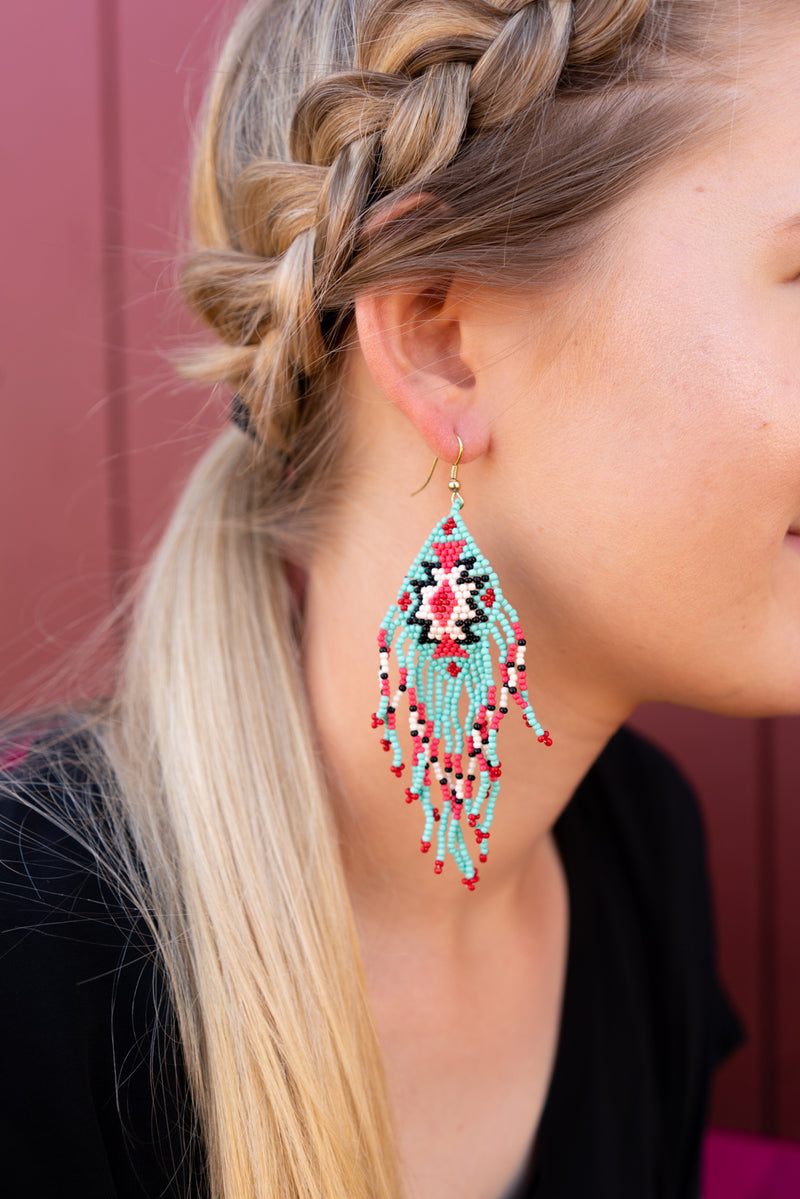Turquoise and Beaded Earrings