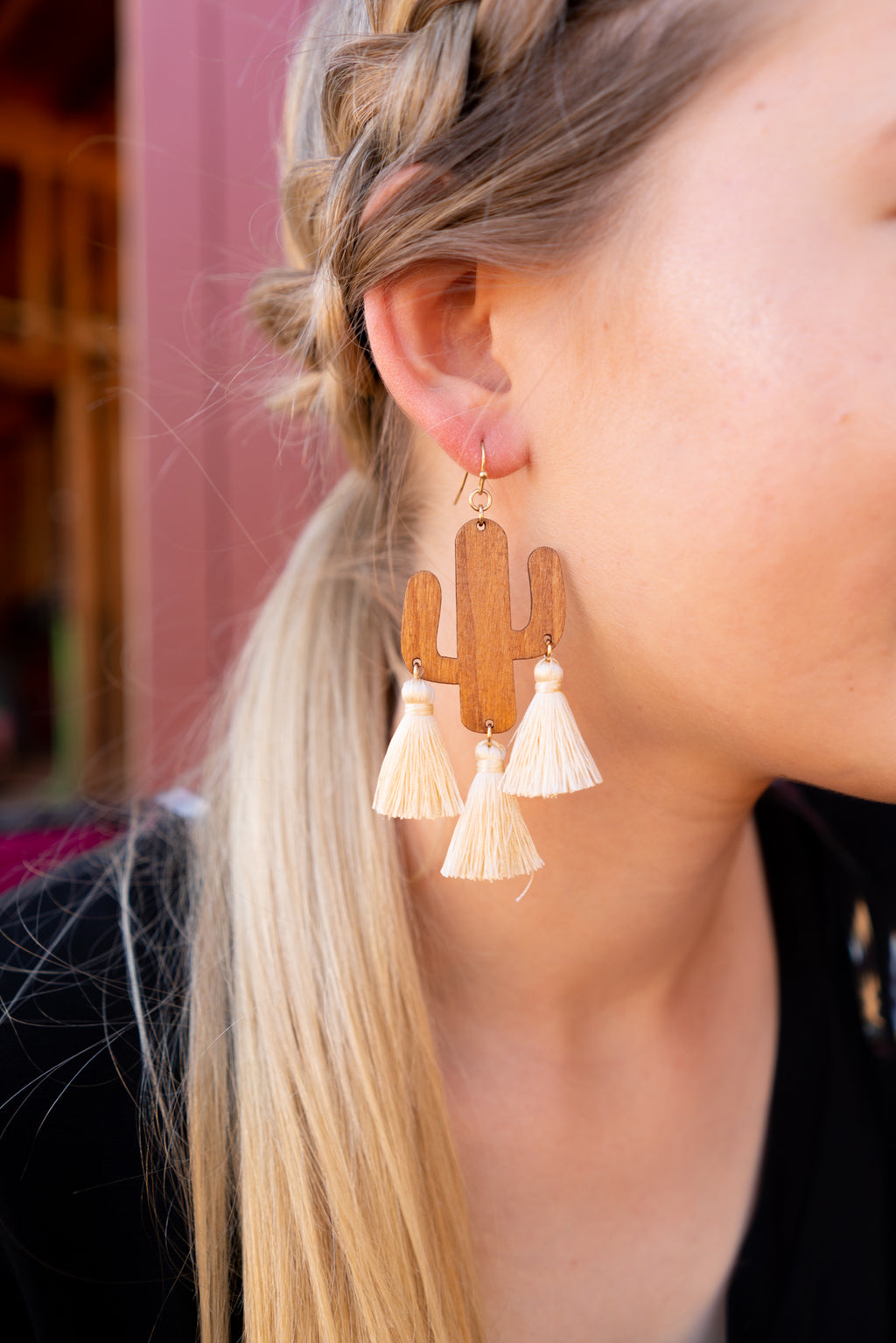 Cactus Tassel In White Earrings