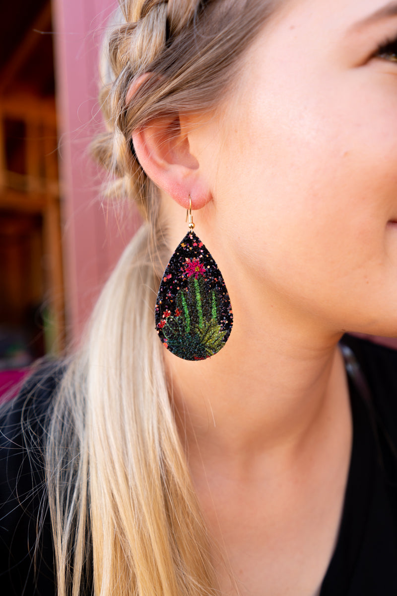 Glitter Succulent Leather Earrings