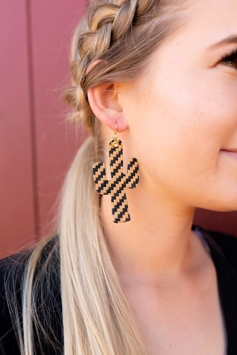 Checkered Saguaro Earrings