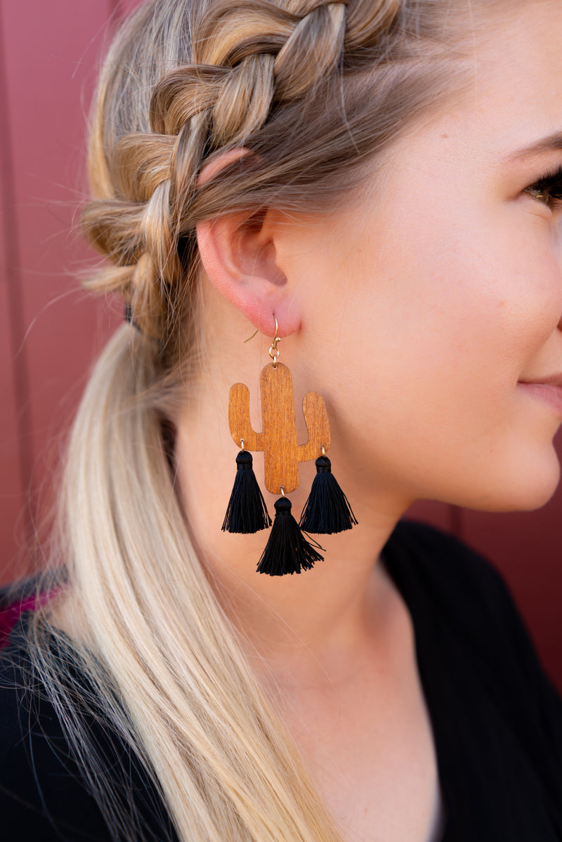 Saguaro and Black Tassel Earrings