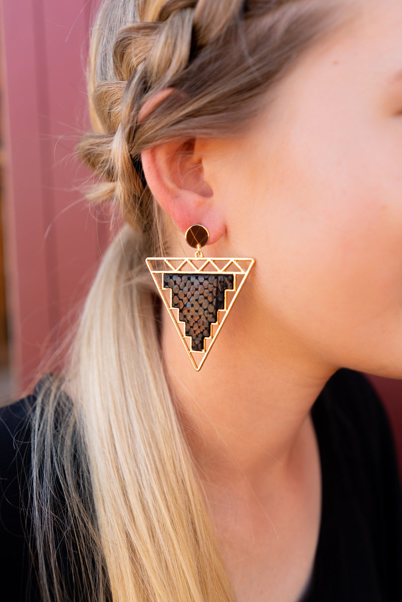 Black And Triangle Earrings