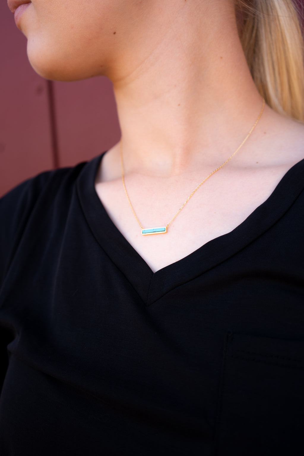 Dainty Turquoise Bar Necklace