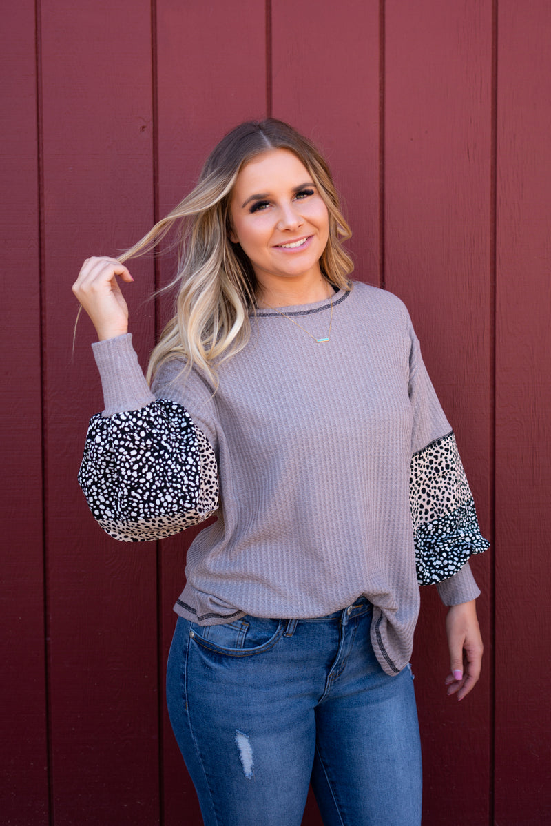Mocha And Leopard Sleeved Top