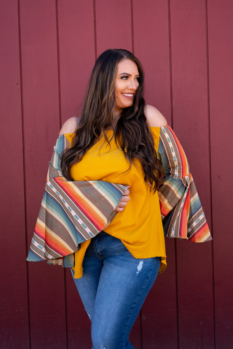 Sunrise Serape Dreams Bell Sleeve Top