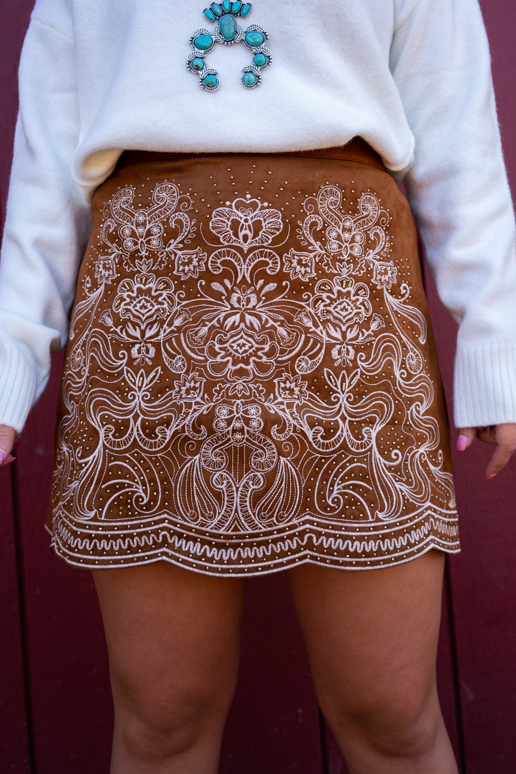 San Tan Embroidered Mini Skirt