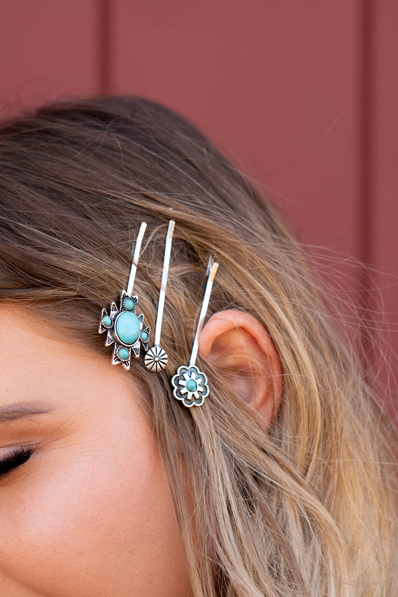 Turquoise Trio Bobby Pins