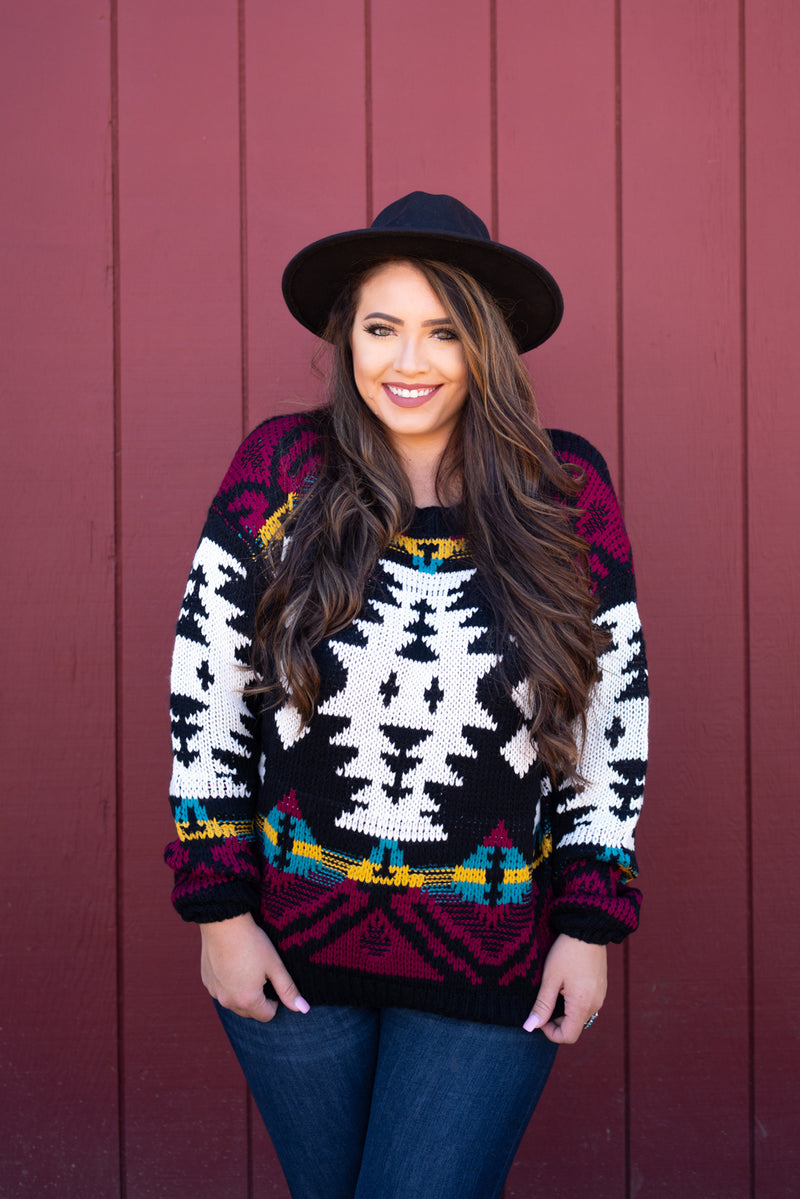 Aztec Black Sweater Top