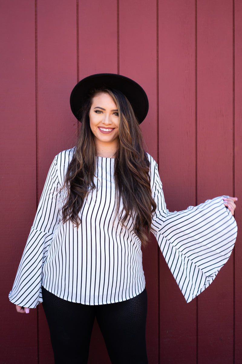 Pinstripe Bell Sleeve Babe Top