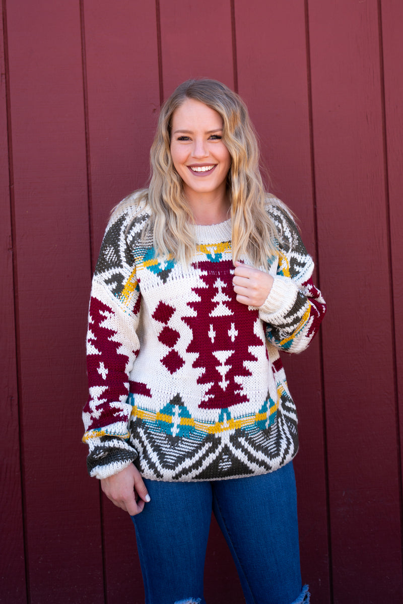 Aztec Cream Sweater Top