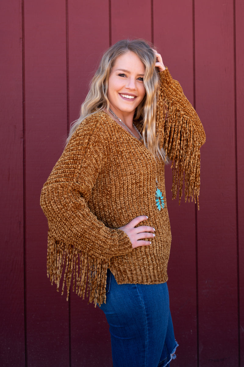 Golden Hour Fringe Sweater Top