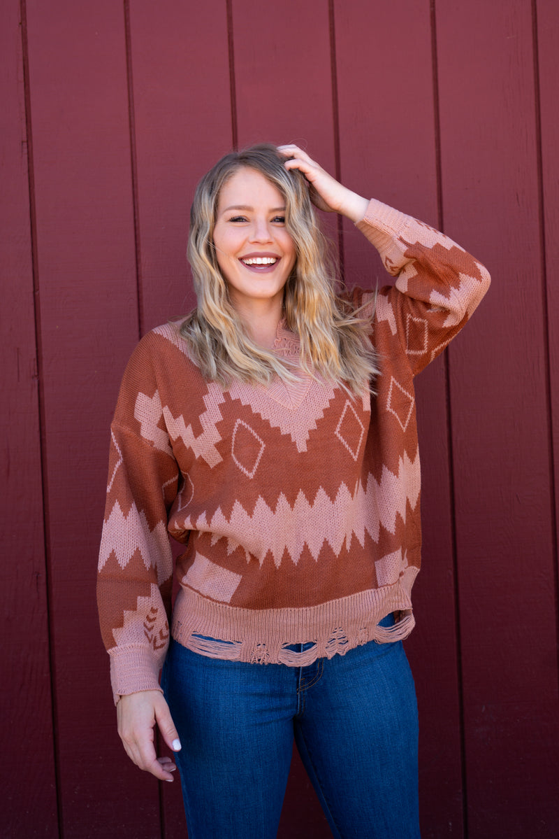 Burnished Aztec Distressed Sweater Top