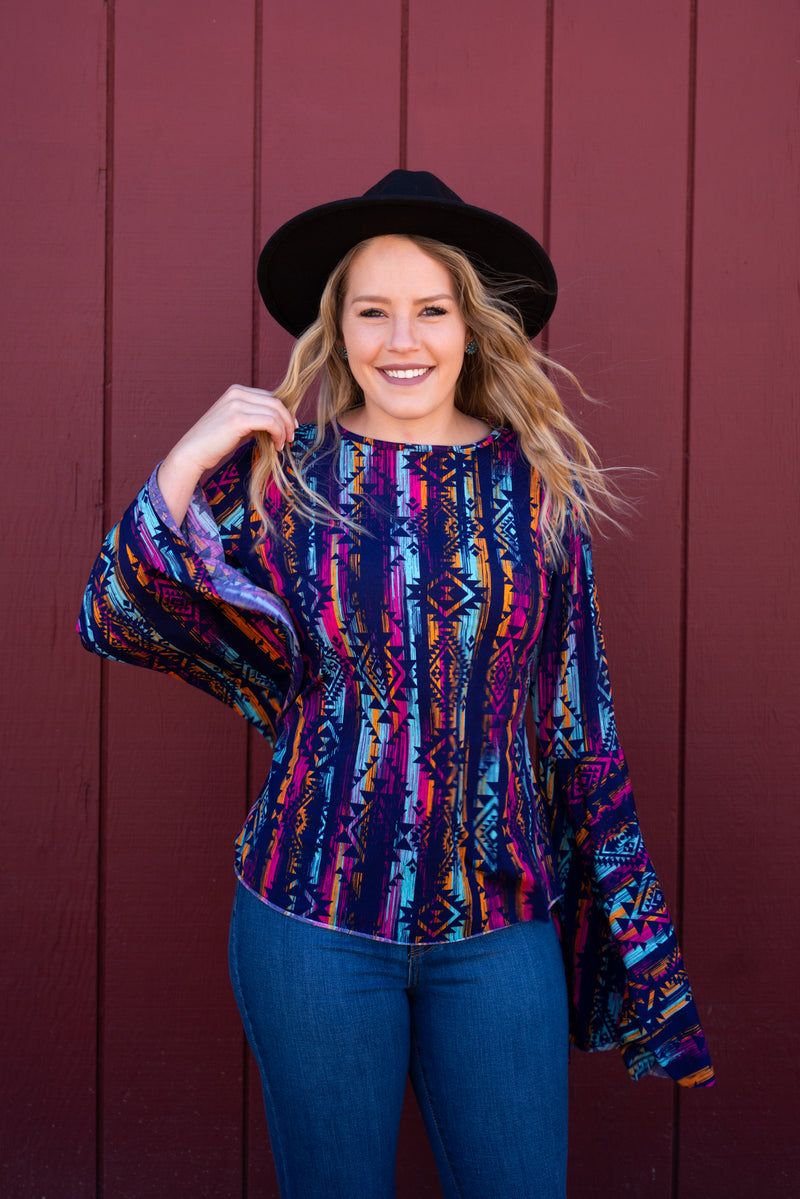 Purple Kind Of Pink Aztec Bell Sleeve Top