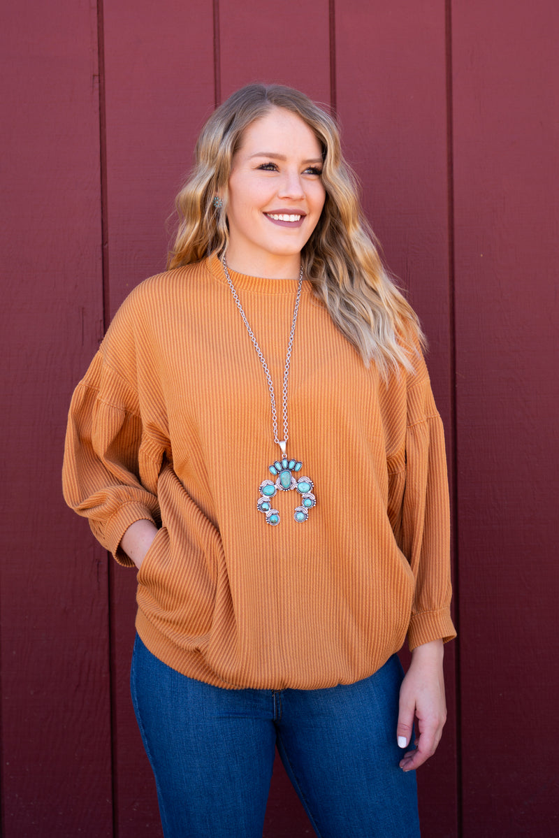So 70's Mustard Bubble Sleeve Top