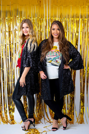 All About Sequin Bell Sleeve Duster