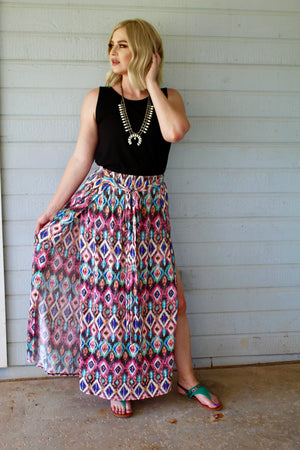 Geometric Double Slit Maxi Skirt