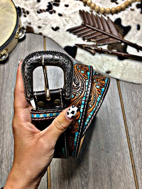 Shake The Frost Hand Tooled Leather Belt