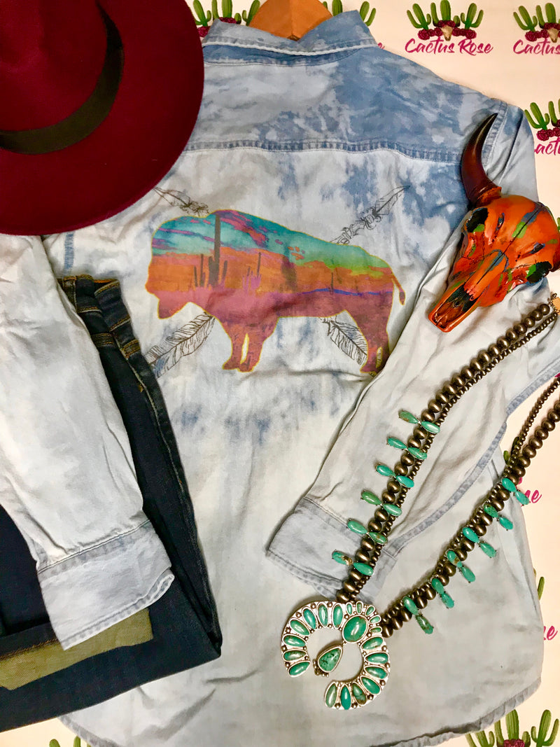 Arizona Buffalo Denim Bleached Out Button Up Top
