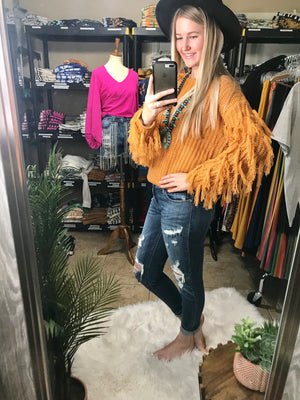 Mustard Fringed Out Sleeve Sweater Top