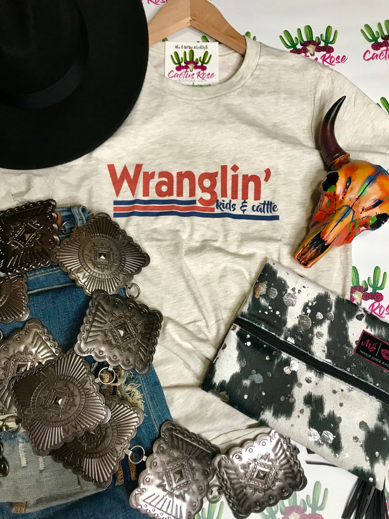 Wranglin' Kids And Cattle Tee