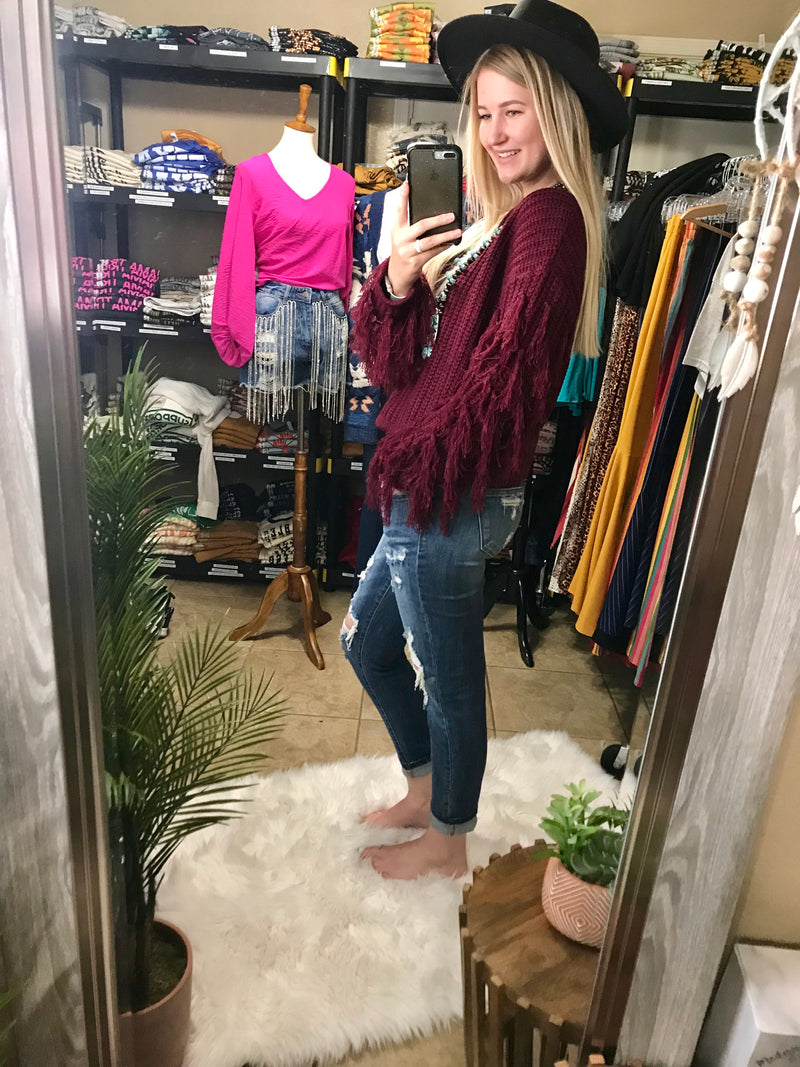 Wine Fringed Out Sleeve Sweater Top