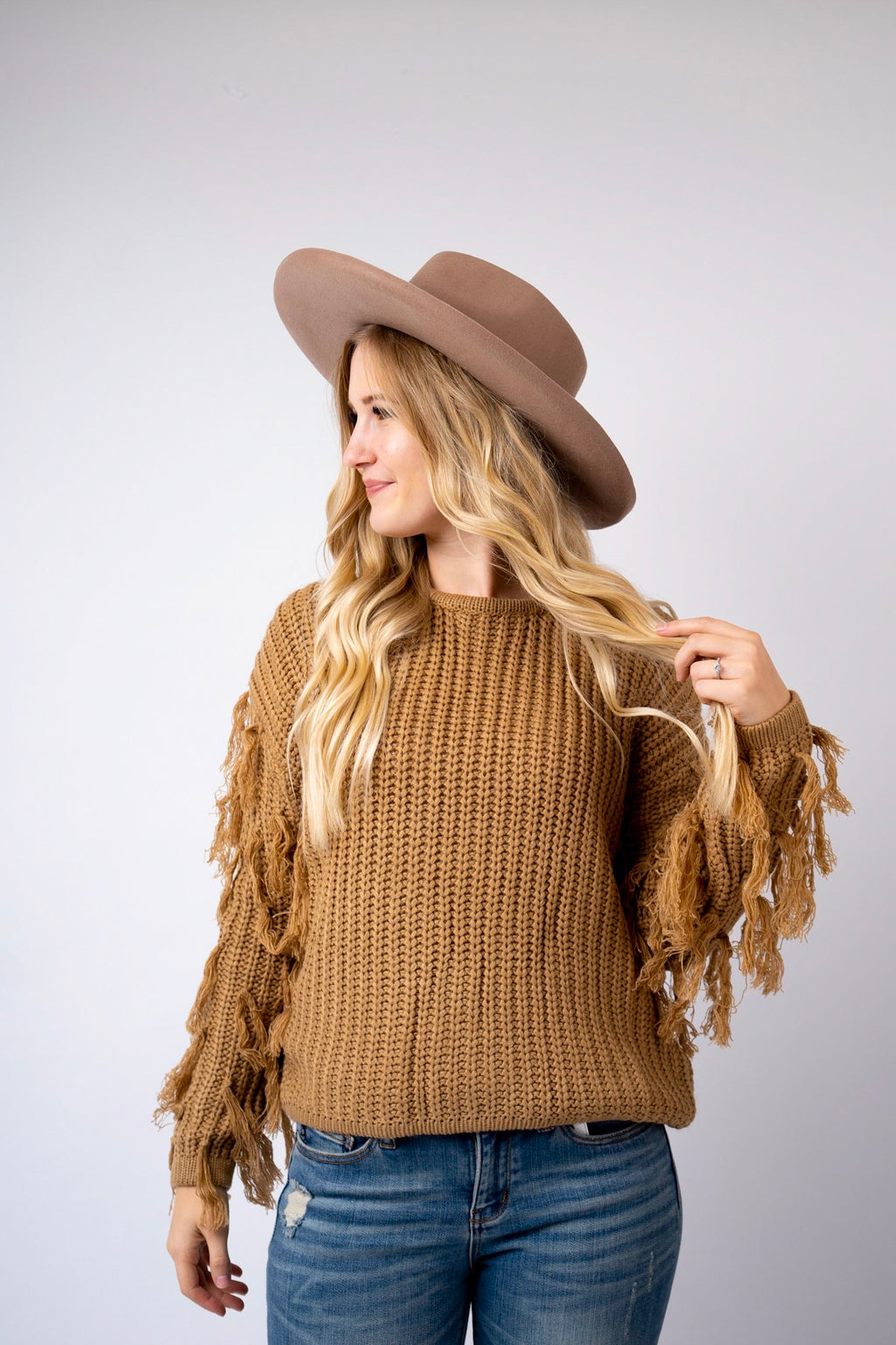 Sandy Fringed Sleeve Sweater Top