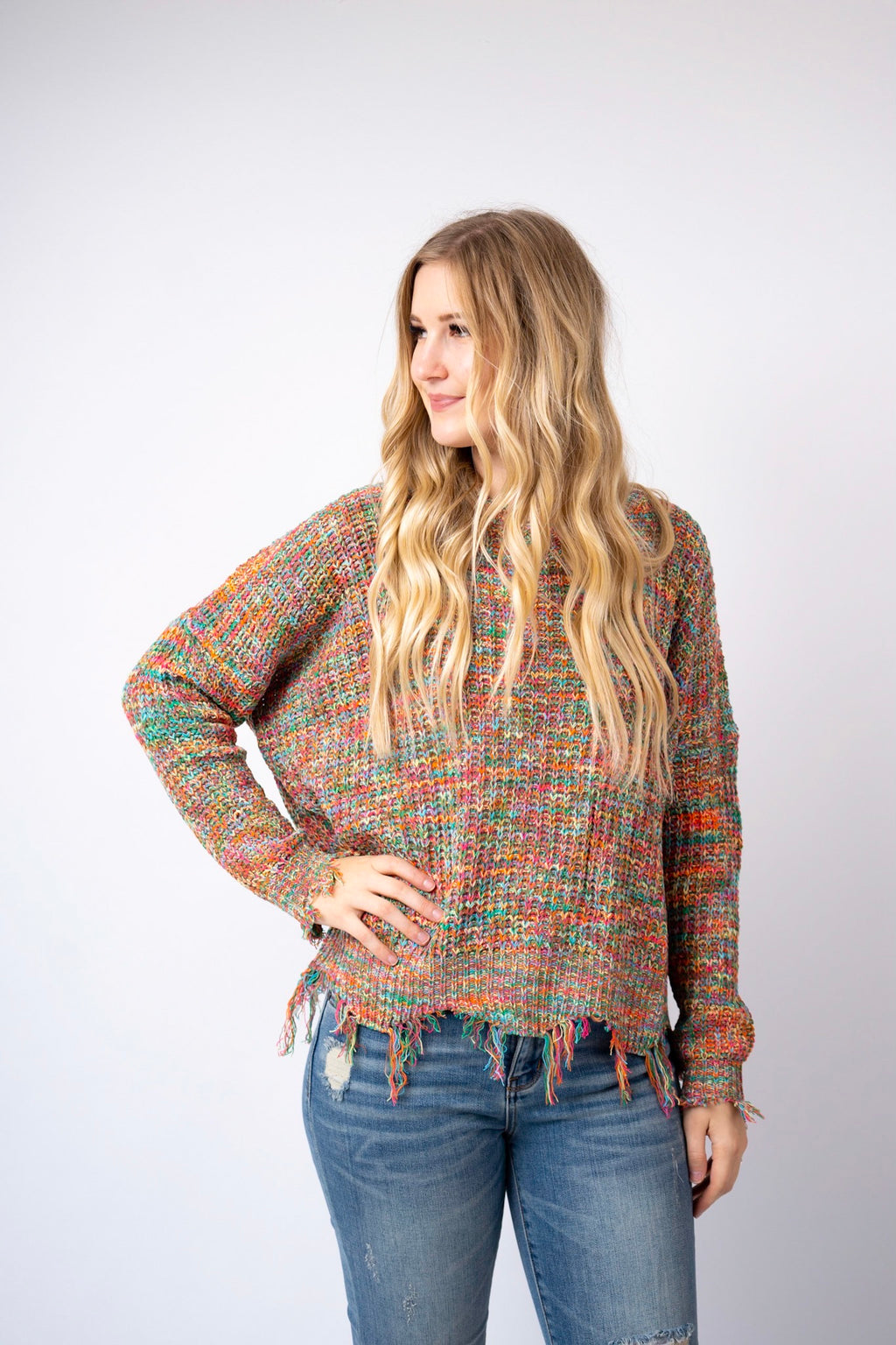 Fruity Pebbles Knit Distressed Sweater Top