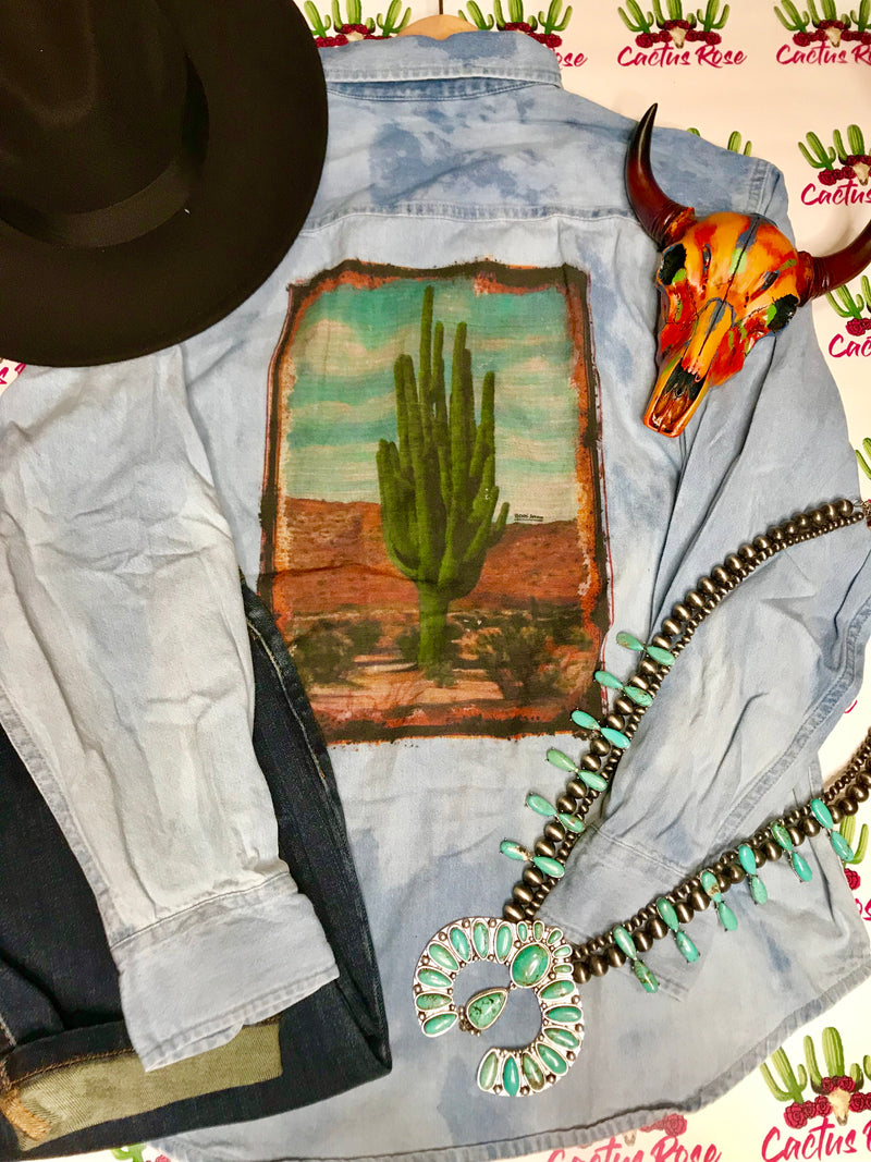 Arizona Sunrise Denim Bleached Out Button Up Top