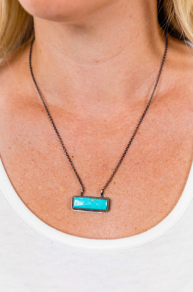 Kingman Turquoise Sterling Bar Necklace