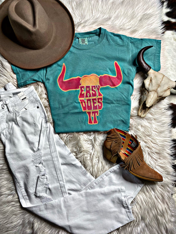 Easy Does It Turquoise Tee